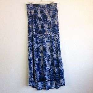 Vivienne Tam Blue Tie Dye Long Maxi Skirt Medium